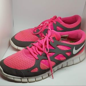 Nike free run 2 pink grey running sneakers size 12